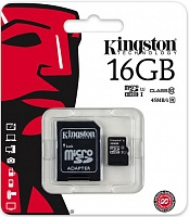 MicroSDHC 16 Gb KINGSTON class 10 UHS-I 45MB/s + адаптер SD