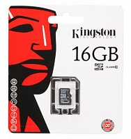 MicroSDHC 16 Gb KINGSTON class 10 без адаптера