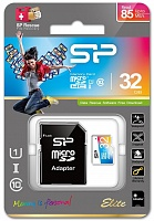 MicroSDHC 32 Gb SILICON POWER ELITE Colored UHS-I class 10 + адаптер