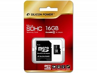 MicroSDHC 16 Gb SILICON POWER class 10 + адаптер