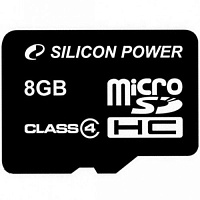 MicroSDHC 8 Gb SILICON POWER class 4 без адаптера