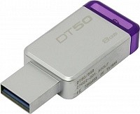 USB-Flash 8 Gb KINGSTON Data Traveler 50 серебристый, USB3.0, металлический корпус